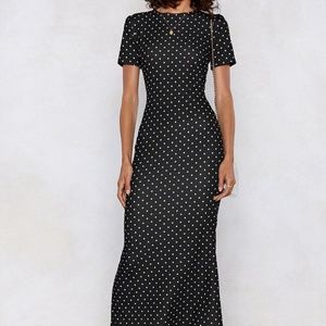 Nasty Gal Black White Polka Dot Maxi Dress | 4